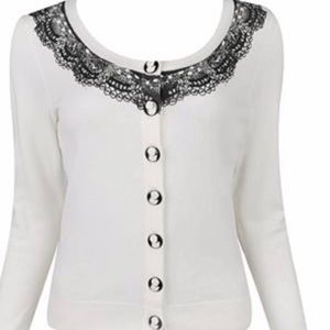 Forever 21 Sweaters - NWT Forever 21 Cream Black Cameo Lace Cardigan